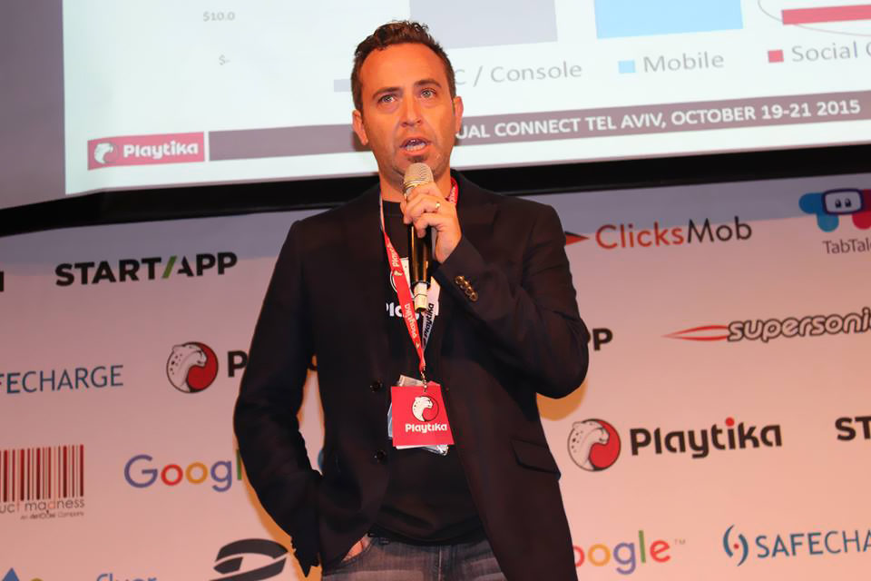 Playtika's Elad Kushnir speaks during Casual Connect Tel Aviv 2015.