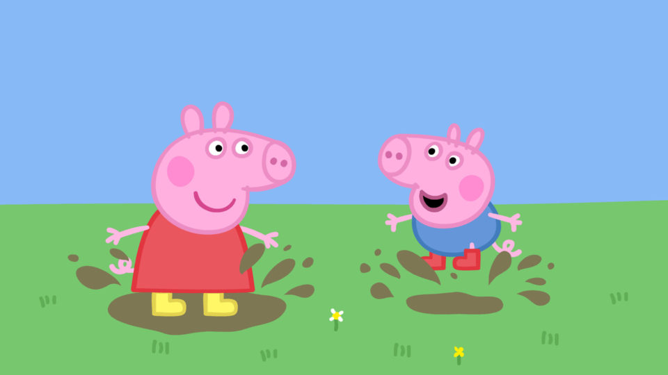 Peppa Pig and her brother George splashing in muddy puddles
